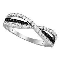 10k White Gold Womens Black Color Enhanced Diamond Whimsical Twist Weave Woven Band Ring Unique 1/2 Cttw