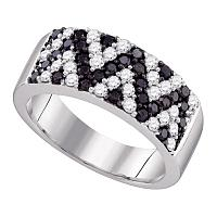 10kt White Gold Womens Round Black Color Enhanced Diamond Chevron Band Ring 1.00 Cttw