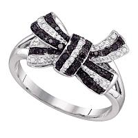 10kt White Gold Womens Round Black Color Enhanced Diamond Bow Ribbon Cluster Ring 1/4 Cttw