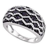 10kt White Gold Womens Round Black Color Enhanced Diamond Striped Band Ring 1-1/5 Cttw