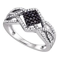10kt White Gold Womens Round Black Color Enhanced Diamond Square Cluster Ring 1/3 Cttw