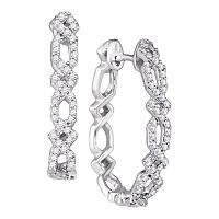 10k White Gold Round Diamond Womens Symmetric Woven Interweaving Hoop Earrings 1/2 Cttw