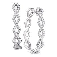 10k White Gold Round Diamond Womens Symmetric Box-weave Woven Hoop Earrings 1/2 Cttw