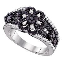 10kt White Gold Womens Round Black Color Enhanced Diamond Cluster Ring 1.00 Cttw