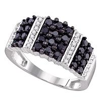 10kt White Gold Womens Round Black Color Enhanced Diamond Stripe Band Ring 7/8 Cttw