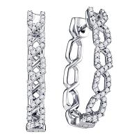 10k White Gold Womens Round Diamond Woven Hoop Earrings 1/2 Cttw