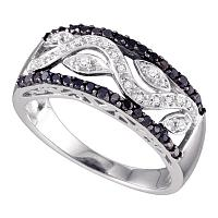 10kt White Gold Womens Round Black Color Enhanced Diamond Floral Band Ring 3/8 Cttw