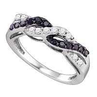 10kt White Gold Womens Round Black Color Enhanced Diamond Woven Band Ring 3/8 Cttw