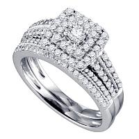 14kt White Gold Womens Round Diamond Double Halo Bridal Wedding Engagement Ring Band Set 3/4 Cttw