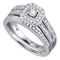 14kt White Gold Womens Round Diamond Halo Bridal Wedding Engagement Ring Band Set 1/2 Cttw