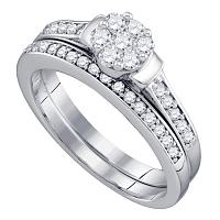 10kt White Gold Womens Diamond Cluster Bridal Wedding Engagement Ring Band Set 1/2 Cttw