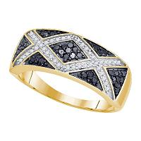 10kt Yellow Gold Womens Round Black Color Enhanced Diamond Band Chevron Ring 3/8 Cttw