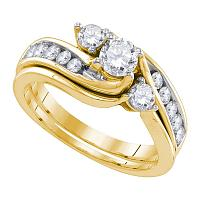 14kt Yellow Gold Womens Diamond 3-stone Bridal Wedding Engagement Ring Band Set 1.00 Cttw