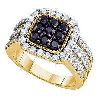 10kt Yellow Gold Womens Round Black Color Enhanced Diamond Square Cluster Ring 2.00 Cttw
