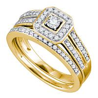 14kt Yellow Gold Womens Round Diamond Square Halo Bridal Wedding Engagement Ring Band Set 1/2 Cttw
