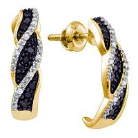 10kt Yellow Gold Womens Round Black Color Enhanced Diamond J Hoop Earrings 1/6 Cttw