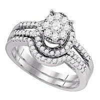 10kt White Gold Womens Round Diamond Elevated Cluster Bridal Wedding Engagement Ring Band Set 3/4 Cttw