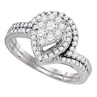 10kt White Gold Womens Round Diamond Cluster Bridal Wedding Engagement Ring Band Set 3/4 Cttw