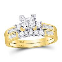 10kt Yellow Gold Womens Princess Diamond Bridal Wedding Engagement Ring Band Set 1/2 Cttw - Size 7