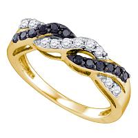 10kt Yellow Gold Womens Round Black Color Enhanced Diamond Crossover Band Ring 3/8 Cttw