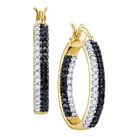 10kt Yellow Gold Womens Round Black Color Enhanced Diamond Inside-Outside Hoop Earrings 7/8 Cttw
