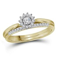 10kt Yellow Gold Womens Round Diamond Halo Bridal Wedding Engagement Ring Band Set 1/4 Cttw