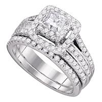 14kt White Gold Womens Princess Diamond Bridal Wedding Engagement Ring Band Set 1-1/2 Cttw