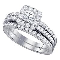 14kt White Gold Womens Diamond Princess Halo Bridal Wedding Engagement Ring Band Set 1-1/4 Cttw