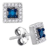 10kt White Gold Womens Round Blue Color Enhanced Diamond Square Solitaire Stud Earrings 1/5 Cttw