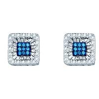 10kt White Gold Womens Round Blue Color Enhanced Diamond Square Stud Earrings 1/2 Cttw
