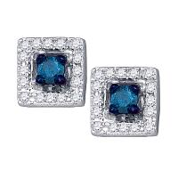 10kt White Gold Womens Round Blue Color Enhanced Diamond Square Earrings 1/4 Cttw