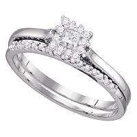10kt White Gold Womens Princess Diamond Halo Bridal Wedding Engagement Ring Band Set 1/4 Cttw