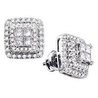 14kt White Gold Womens Princess Round Diamond Square Frame Cluster Earrings 1.00 Cttw