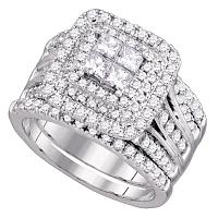 14kt White Gold Womens Princess Diamond Cluster Halo Bridal Wedding Engagement Ring Band Set 2.00 Cttw