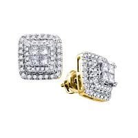 14kt Yellow Gold Womens Princess Round Diamond Square Frame Cluster Earrings 1.00 Cttw