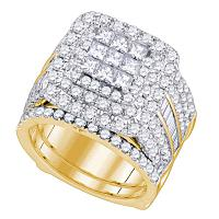 14kt Yellow Gold Womens Princess Diamond Bridal Wedding Engagement Ring Band Set 4.00 Cttw