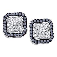 10kt White Gold Womens Round Black Color Enhanced Diamond Cluster Earrings 1.00 Cttw