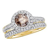 14kt Yellow Gold Womens Round Cognac-brown Color Enhanced Diamond Bridal Wedding Engagement Ring Set Size 8