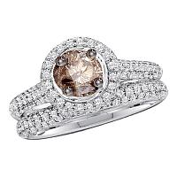 14k White Gold Cognac-brown Round Diamond Solitaire Bridal Wedding Engagement Size 8 Set 1-1/4 Cttw