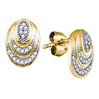 10kt Yellow Gold Womens Round Diamond Oval Stud Earrings 1/8 Cttw