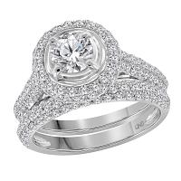 14kt White Gold Womens Round Diamond Bridal Wedding Engagement Ring Band Set 1-1/4 Cttw Size 5