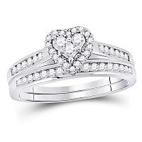 10kt White Gold Womens Diamond Heart Love Bridal Wedding Engagement Ring Set 1/2 Cttw Size 6