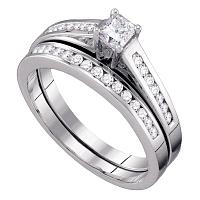 10kt White Gold Womens Princess Diamond Bridal Wedding Engagement Ring Band Set 1/2 Cttw Size 5