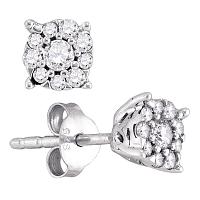 10k White Gold Womens Round Diamond Cluster Screwback Stud Earrings 1/4 Cttw