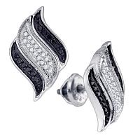 10kt White Gold Womens Round Black Color Enhanced Diamond Cascading Stud Earrings 1/4 Cttw