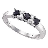 10kt White Gold Womens Round Black Color Enhanced Diamond Band Ring 5/8 Cttw