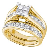 10kt Yellow Gold Womens Princess Diamond Bridal Wedding Engagement Ring Band Set 7/8 Cttw