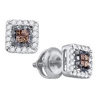 10k White Gold Womens Cognac-brown Color Enhanced Princess Diamond Stud Square Screwback Earrings 1/3 Cttw