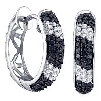10k White Gold Black Color Enhanced Round Pave-set Diamond Womens Hidden Snap Post Hoop Earrings 5/8