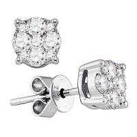 18kt White Gold Womens Round Diamond Cluster Stud Earrings 5/8 Cttw